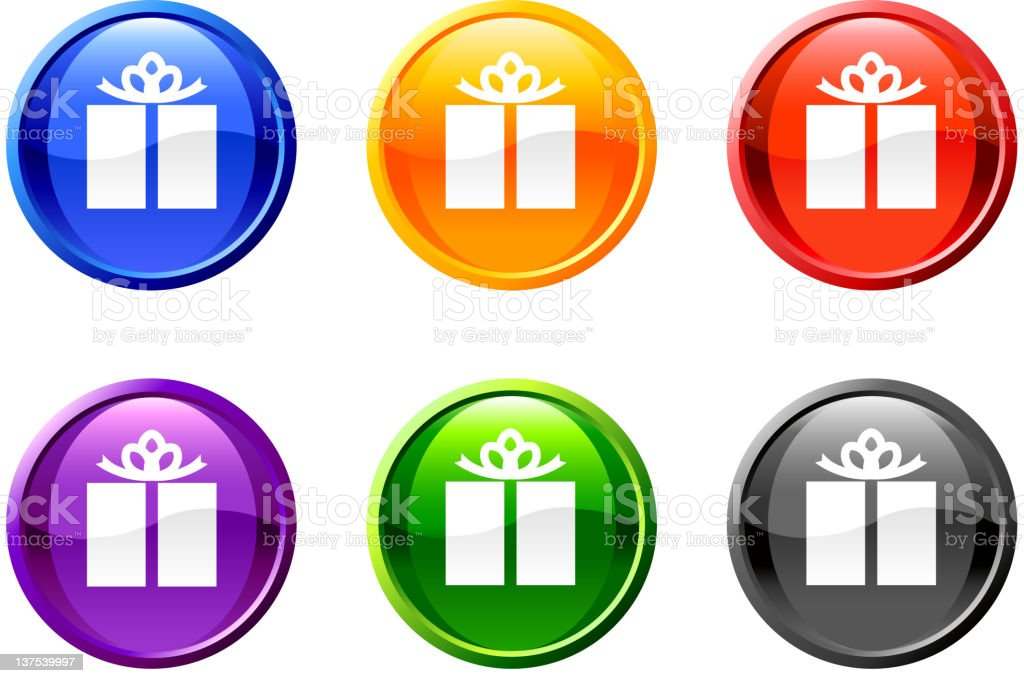 multiple colors of gift box icon / gift token. royalty-free stock vector art