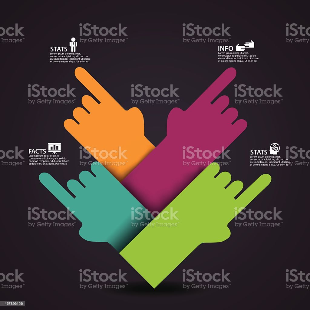 Multiple colors of hands pointing to infographics  vector art illustration