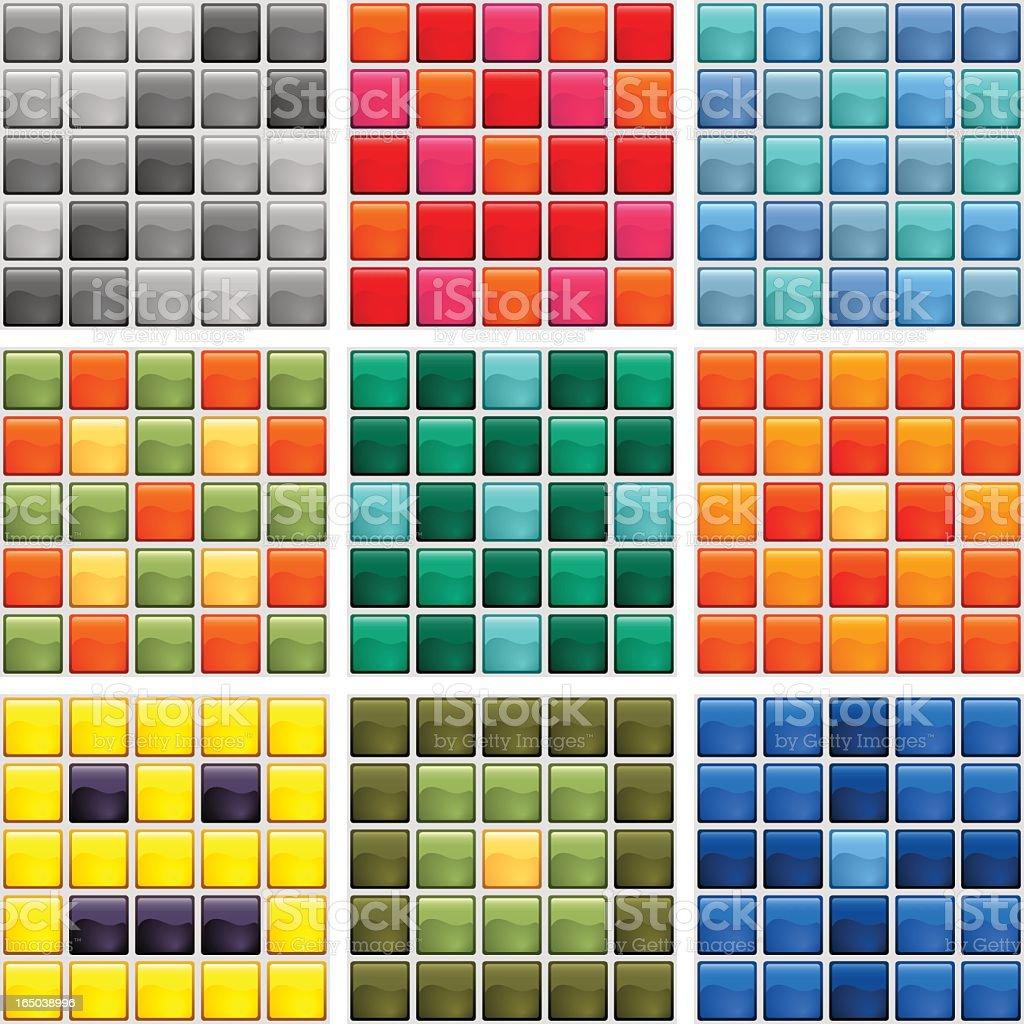 Multiple designs of mosaic tiles vector art illustration
