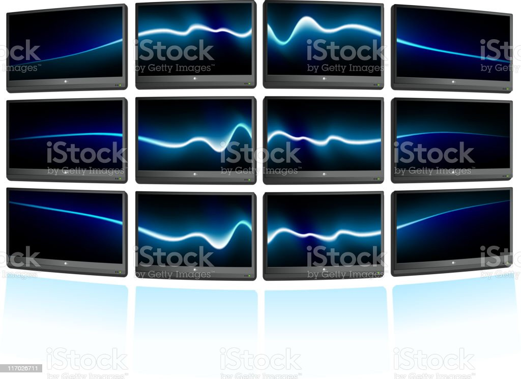 Multiple displays with abstract blue waves Background vector art illustration