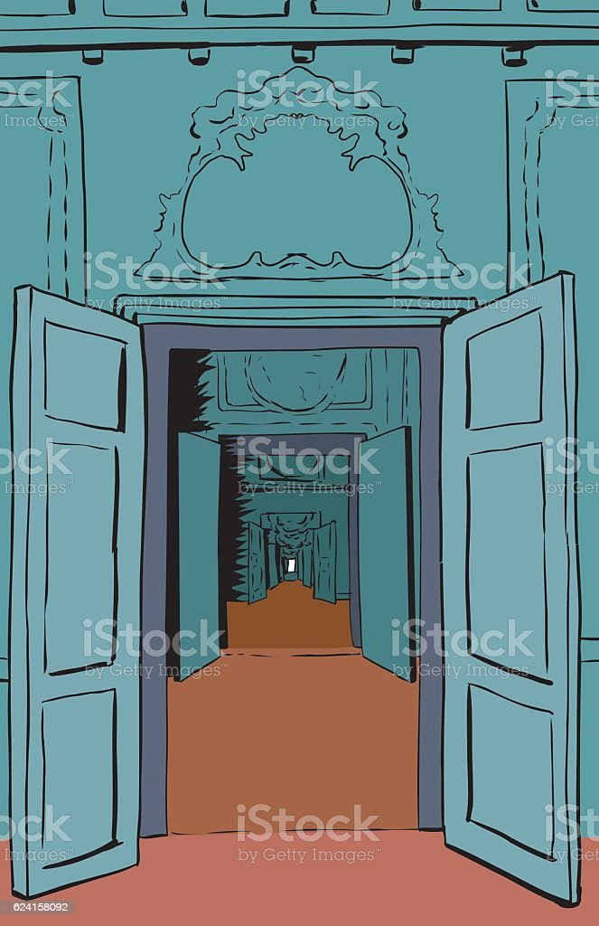 Multiple Doorways and Halls in Palace vector art illustration