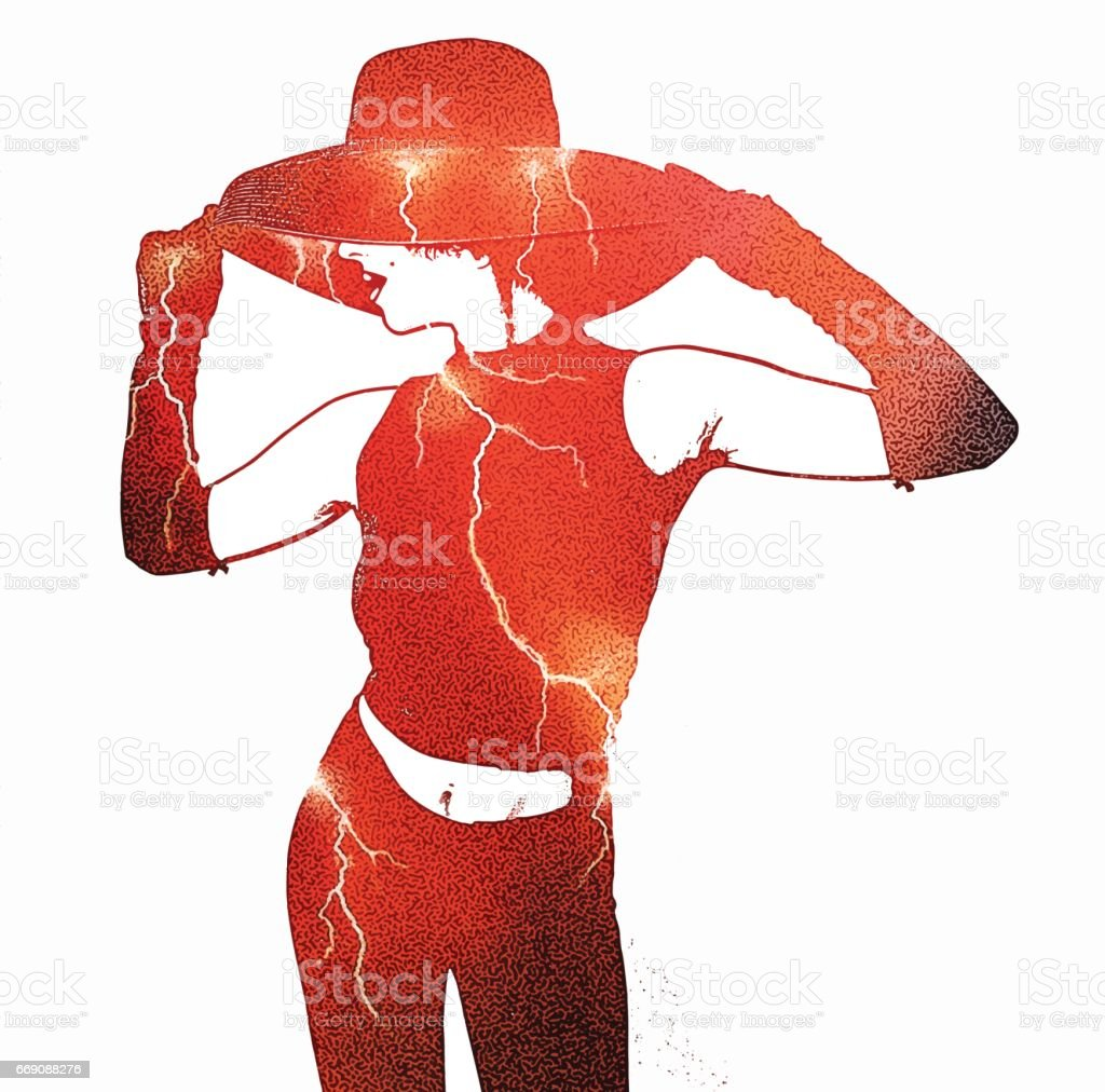 Multiple exposure illustration of woman and lightning storm vector art illustration