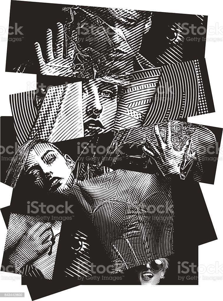 Multiple Exposure Image of a woman with mixed emotions vector art illustration