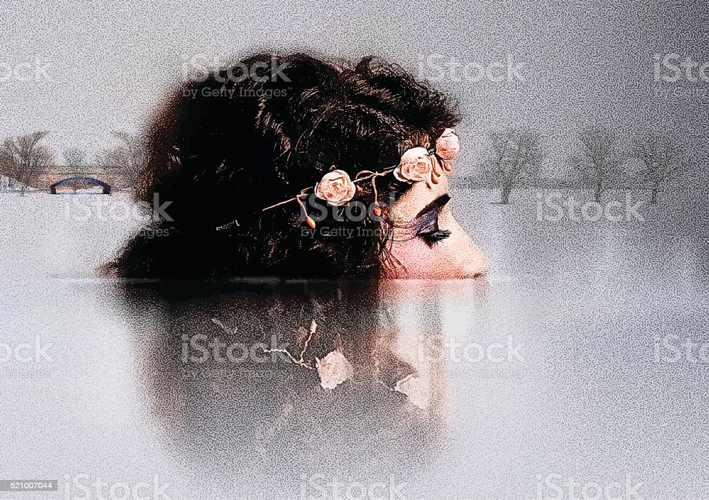 Multiple Exposure of woman connecting with nature vector art illustration