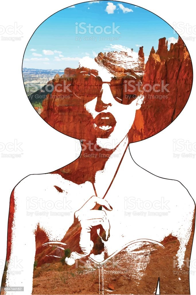Multiple exposure vector of woman and Bryce Canyon National Park Hoodoos vector art illustration
