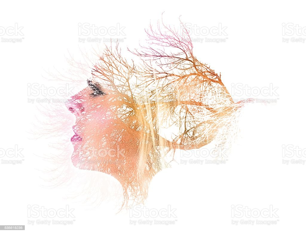 Multiple Exposure, Woman and Trees vector art illustration