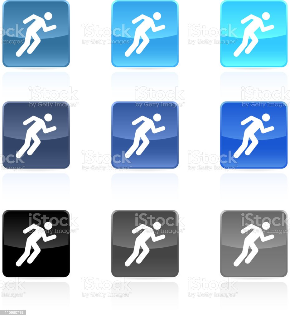 Person running icon 9 colors vector art illustration