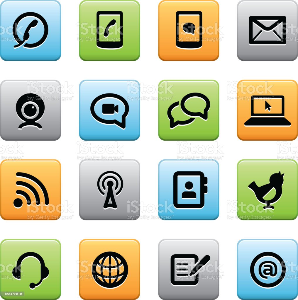 Multiple icons of communication outlets royalty-free stock vector art