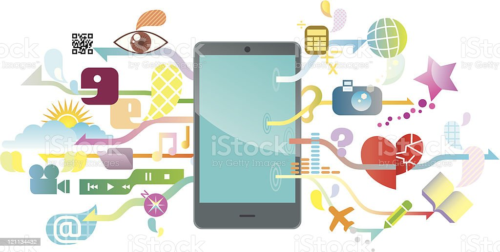 Multiple icons representing the fantastic smartphone royalty-free stock vector art