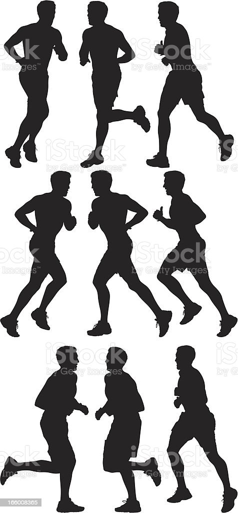 Multiple image of a man running royalty-free stock vector art