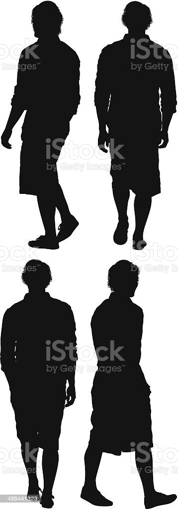 Multiple image of a man walking royalty-free stock vector art