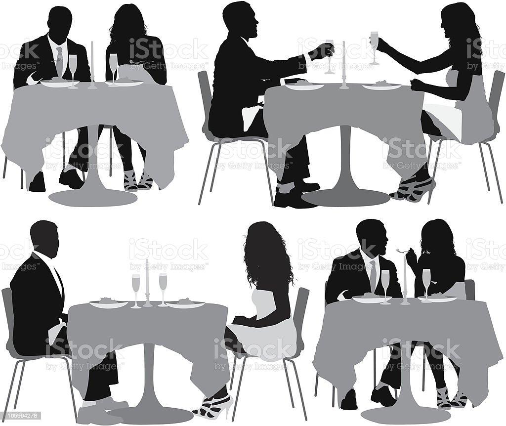 Multiple image of couple having dinner vector art illustration