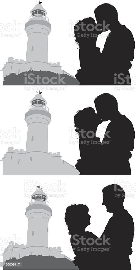 Multiple image of couple with lighthouse in background royalty-free stock vector art