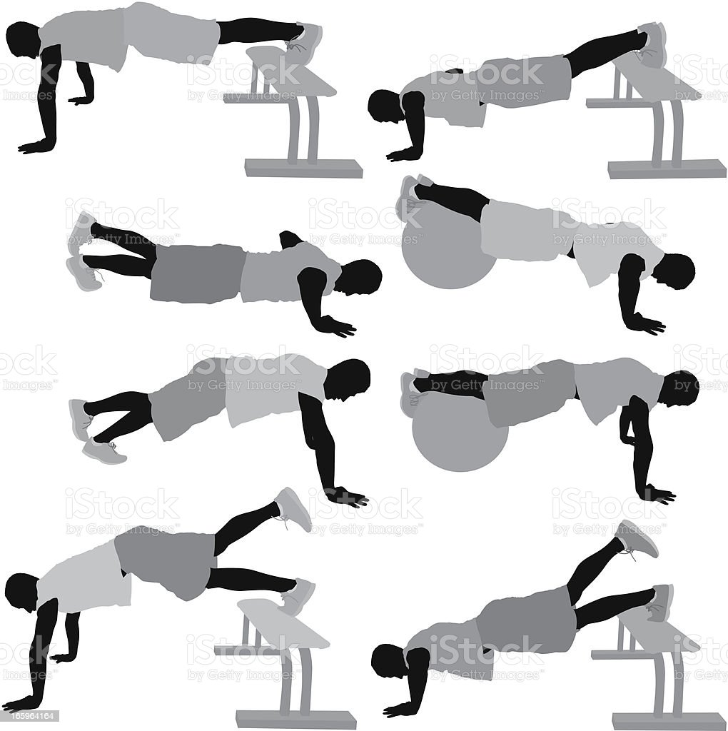 Multiple image of men exercising vector art illustration