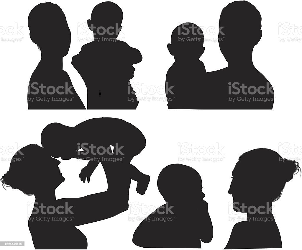 Multiple image of mother with her baby vector art illustration