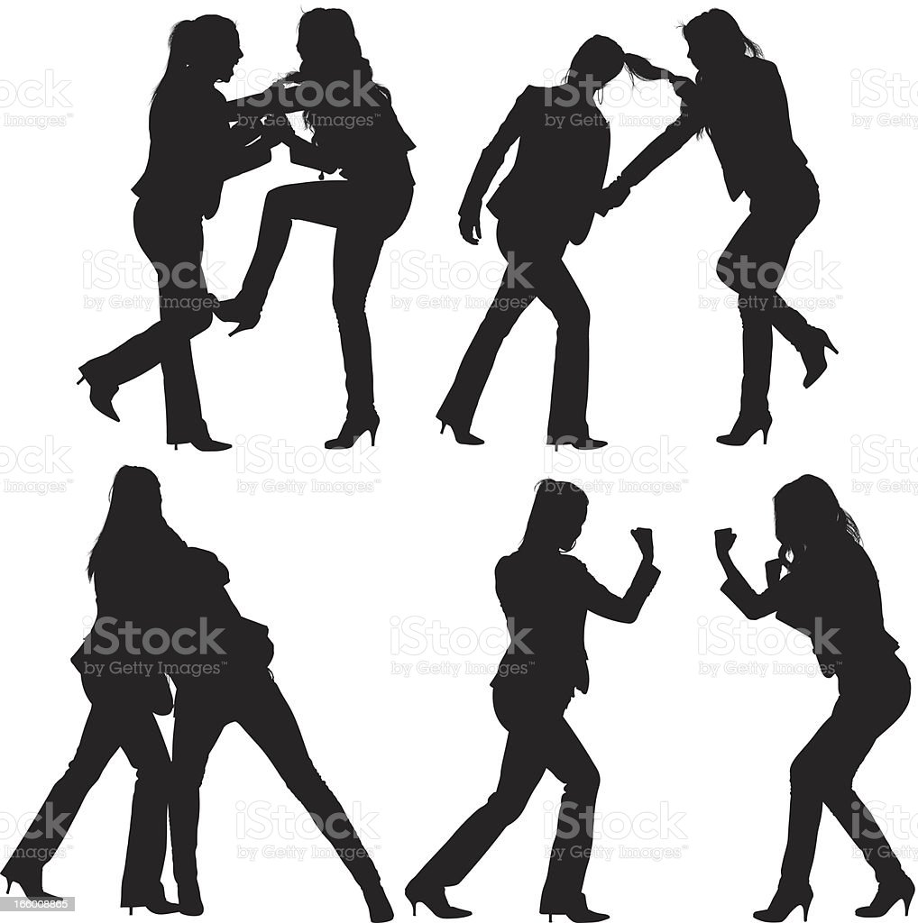 Multiple image of women fighting vector art illustration