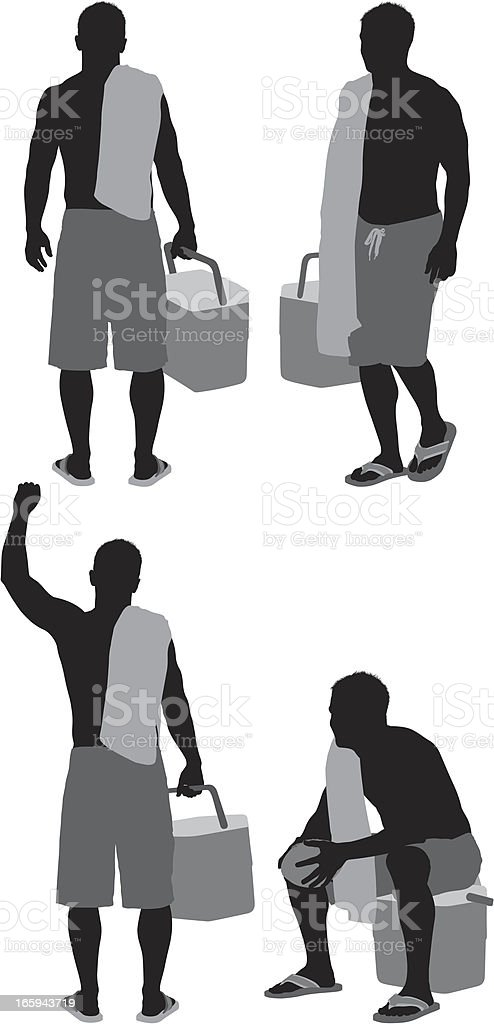 Multiple image sof a man carrying ice box royalty-free stock vector art