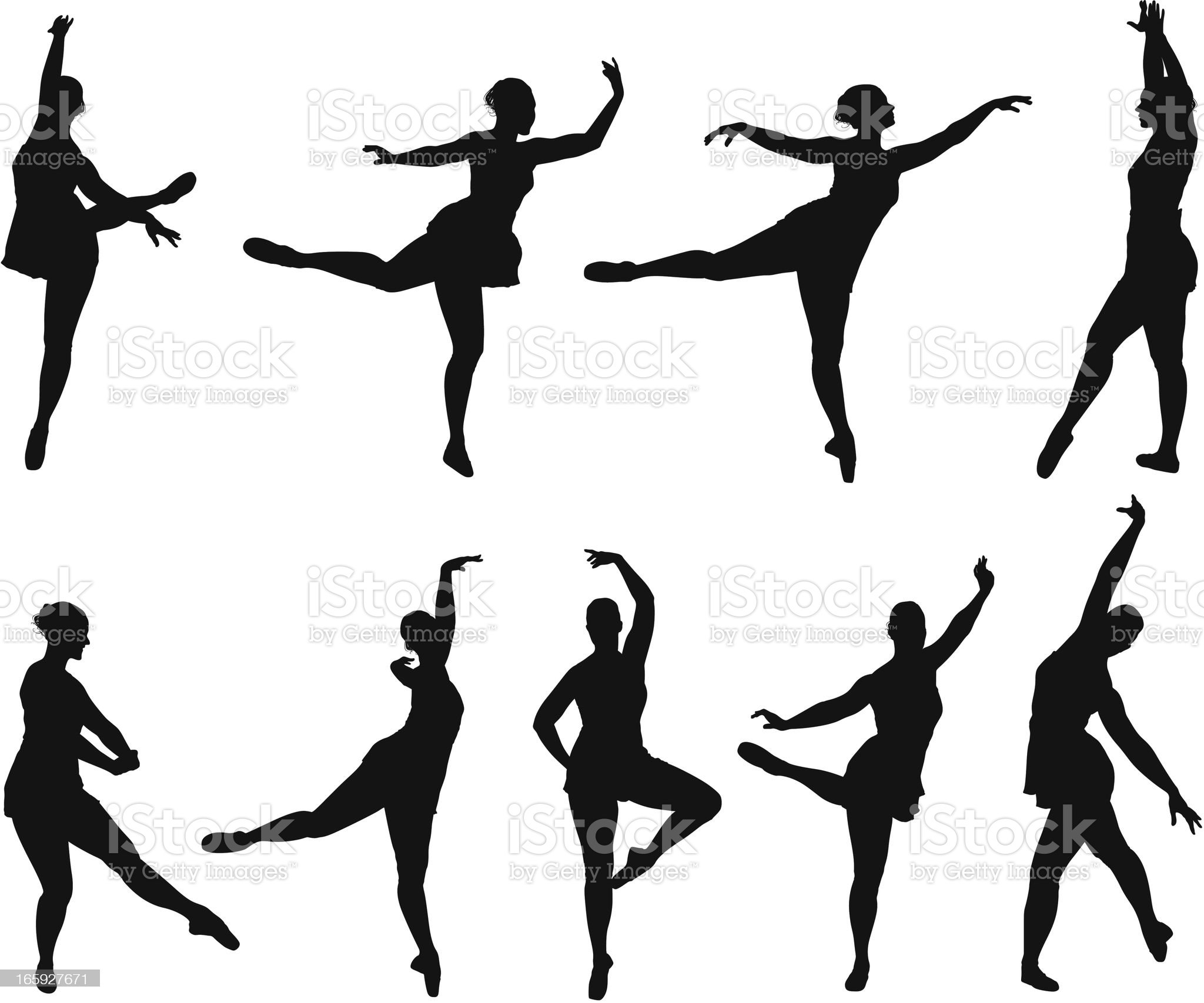 Multiple images of a ballet dancer royalty-free stock vector art