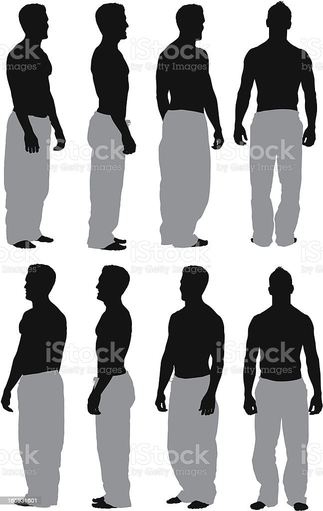 Multiple images of a bare chested man standing vector art illustration