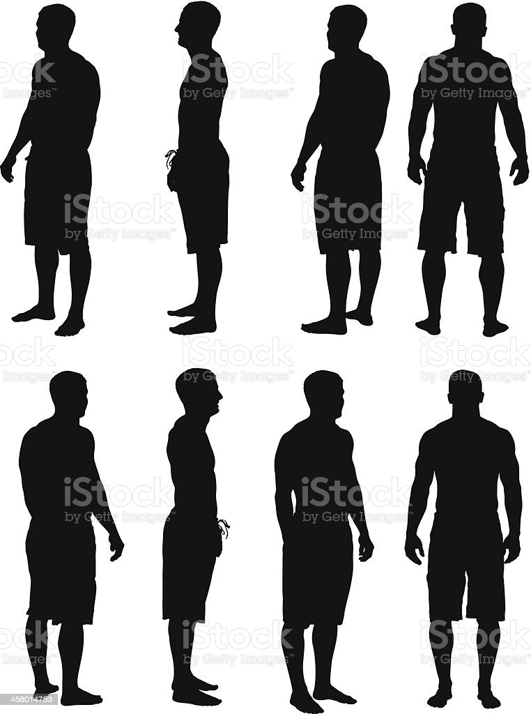 Multiple images of a bare chested man standing royalty-free stock vector art