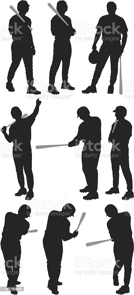 Multiple images of a baseball player royalty-free stock vector art