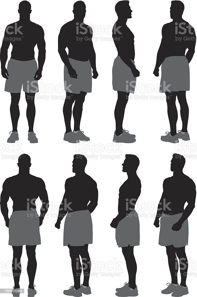 Multiple images of a body builder vector art illustration