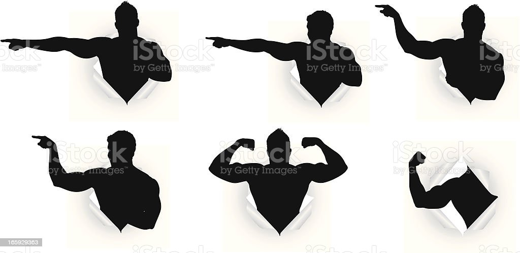 Multiple images of a boxer emerging from paper royalty-free stock vector art
