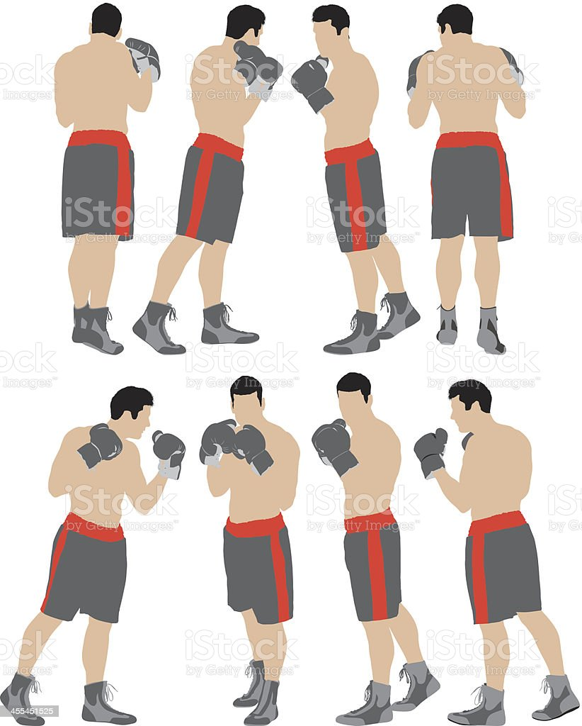 Multiple images of a boxer royalty-free stock vector art