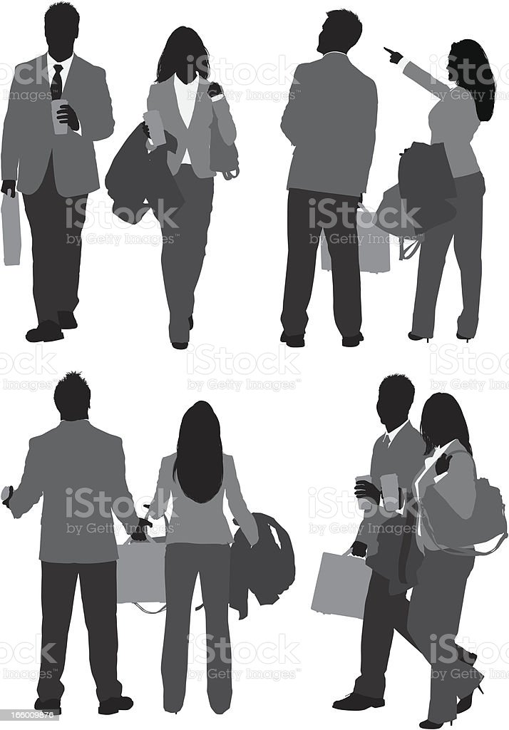 Multiple images of a business couple royalty-free stock vector art