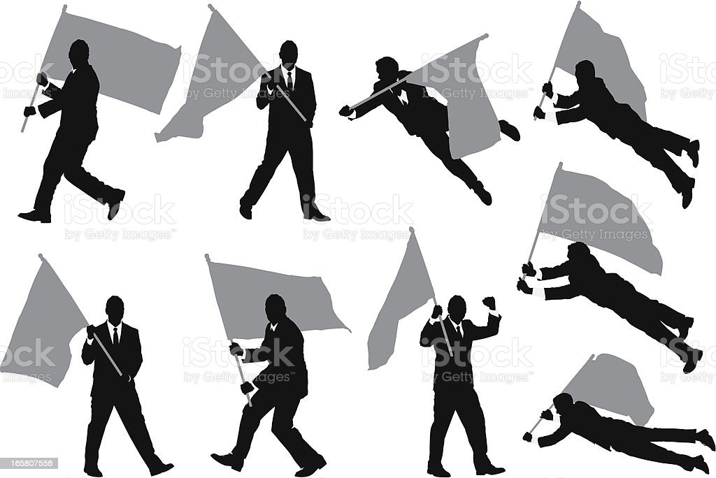 Multiple images of a businessman carrying flag royalty-free stock vector art