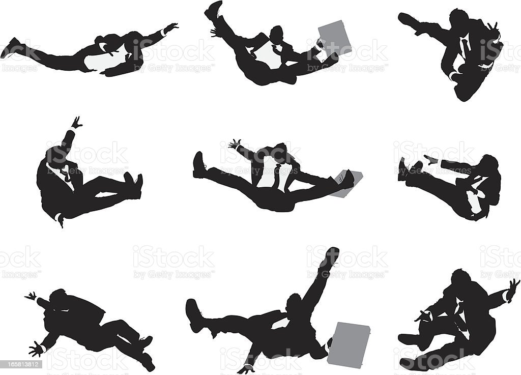 Multiple images of a businessman falling down royalty-free stock vector art