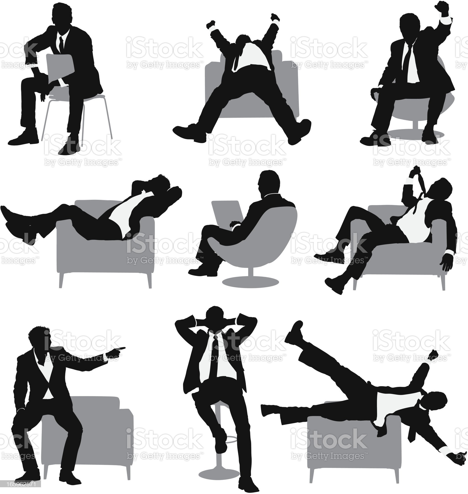 Multiple images of a businessman in different poses royalty-free stock vector art