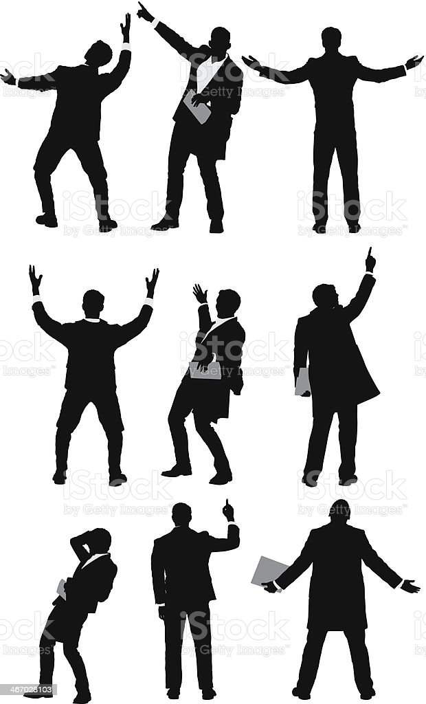 Multiple images of a businessman in different poses vector art illustration