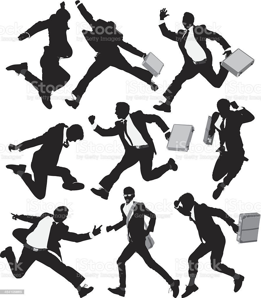 Multiple images of a businessman running royalty-free stock vector art