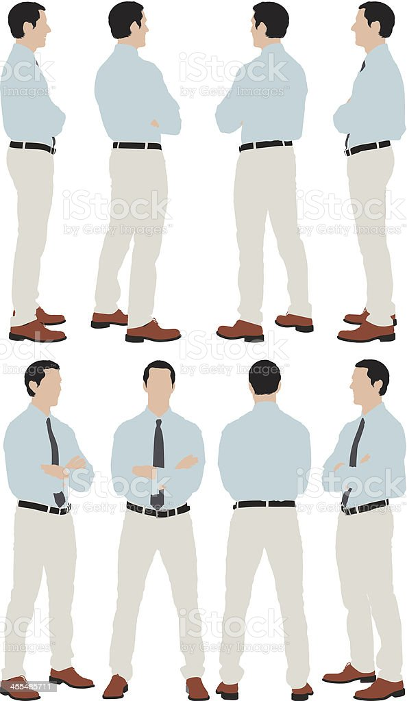 Multiple images of a businessman standing vector art illustration