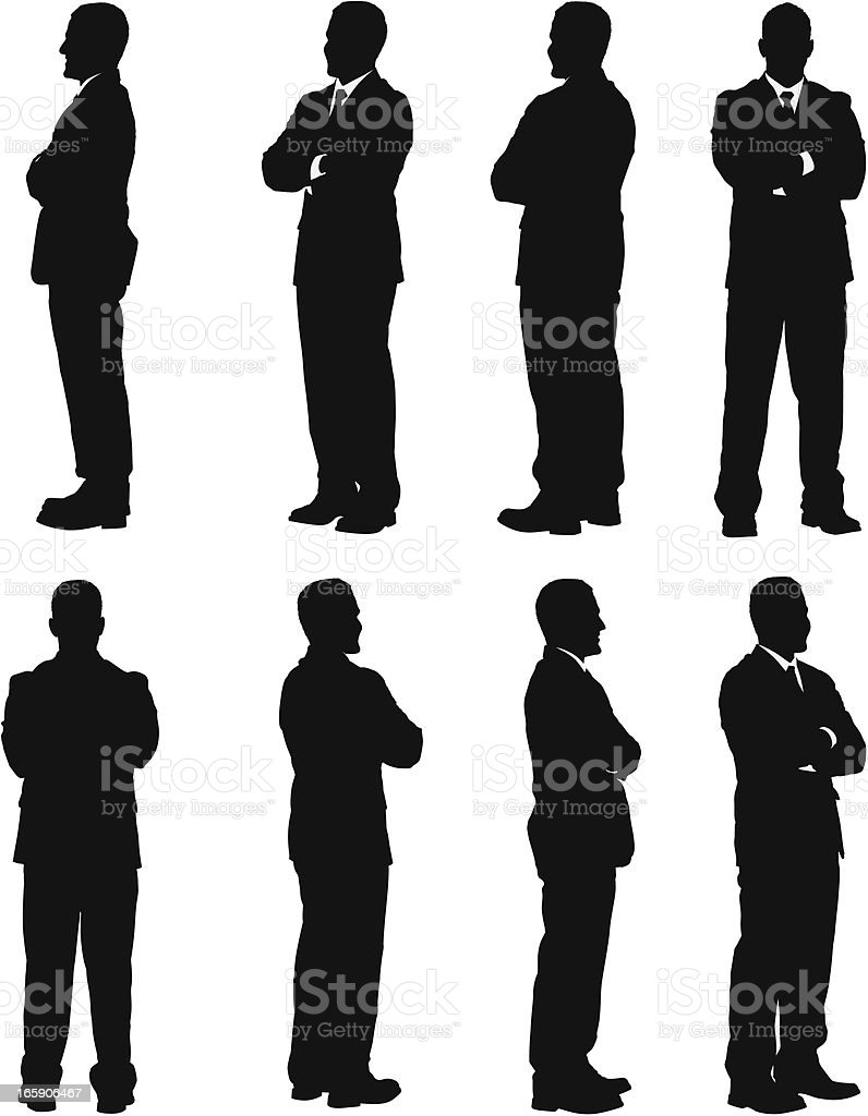 Multiple images of a businessman standing with his arms crossed vector art illustration