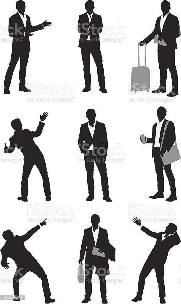 Multiple images of a businessman vector art illustration