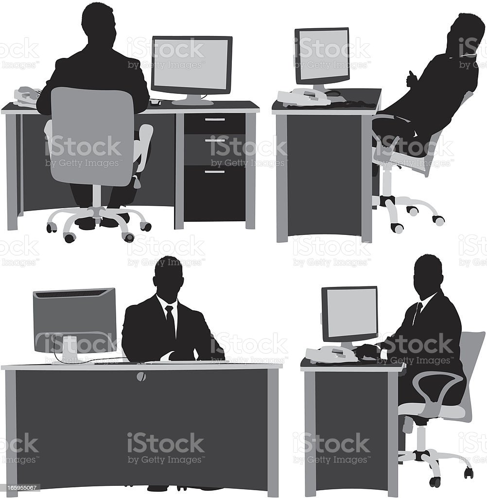 Multiple images of a businessman working in office vector art illustration