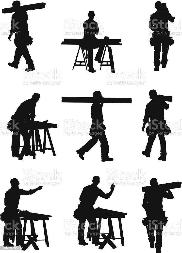 Multiple images of a carpenter vector art illustration