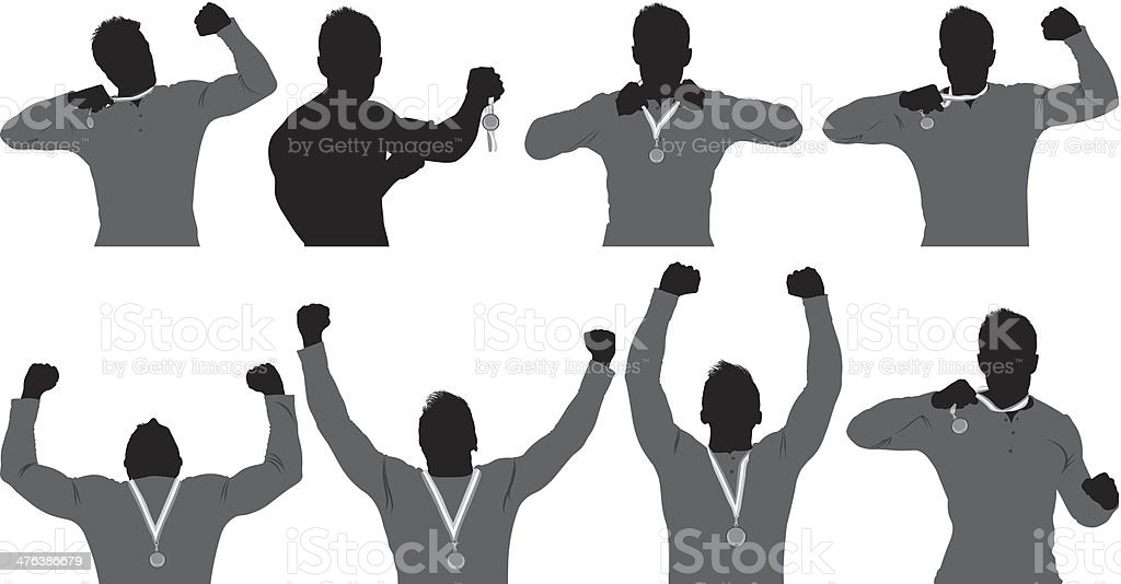 Multiple images of a champion showing his medals royalty-free stock vector art