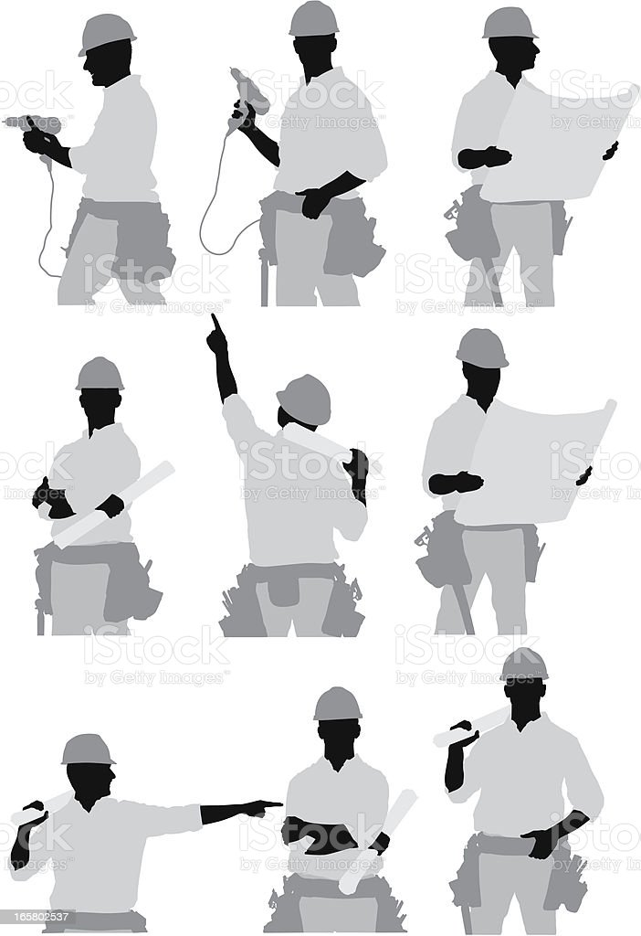 Multiple images of a construction worker royalty-free stock vector art