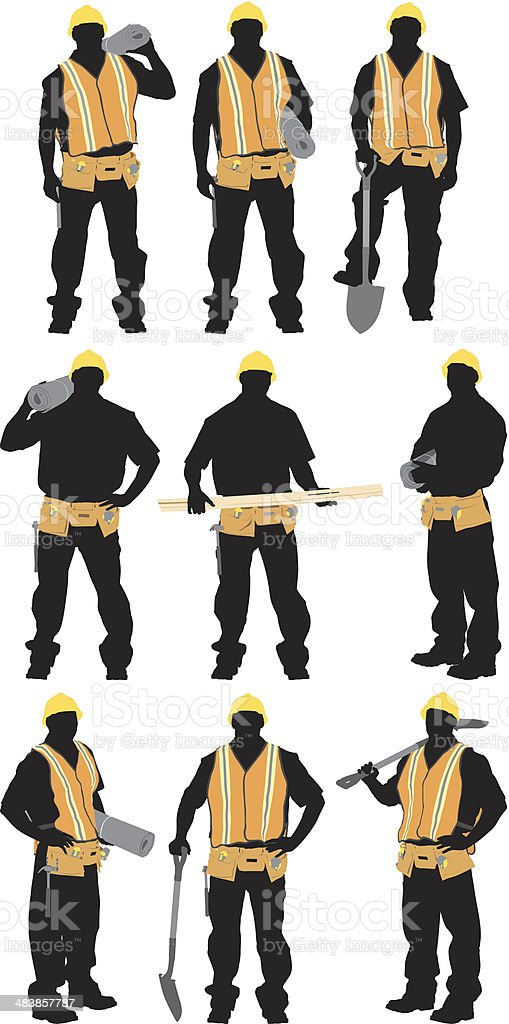 Multiple images of a construction worker vector art illustration