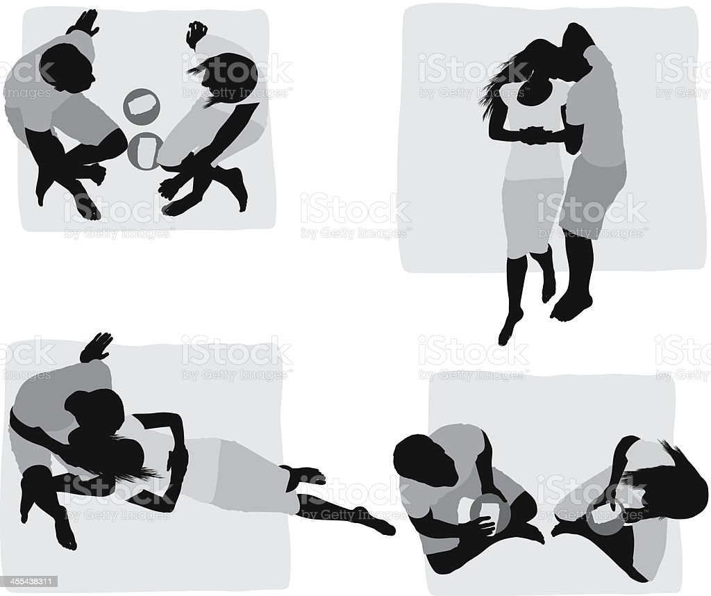 Multiple images of a couple at picnic royalty-free stock vector art