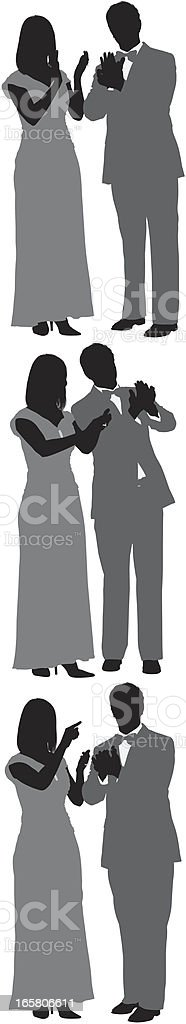Multiple images of a couple clapping royalty-free stock vector art