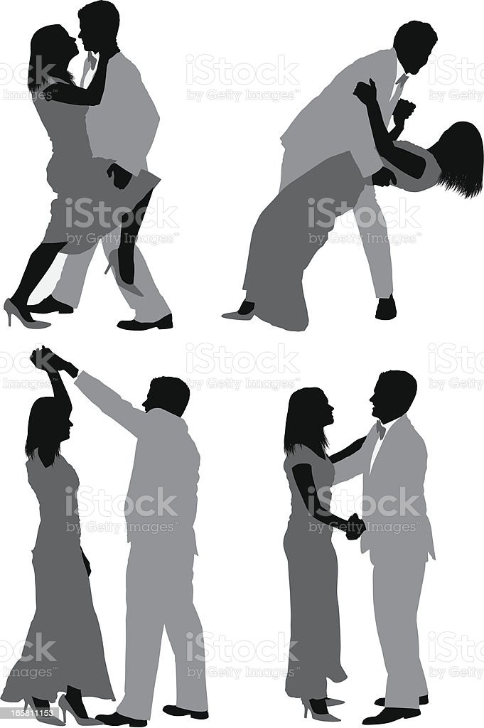 Multiple images of a couple dancing vector art illustration