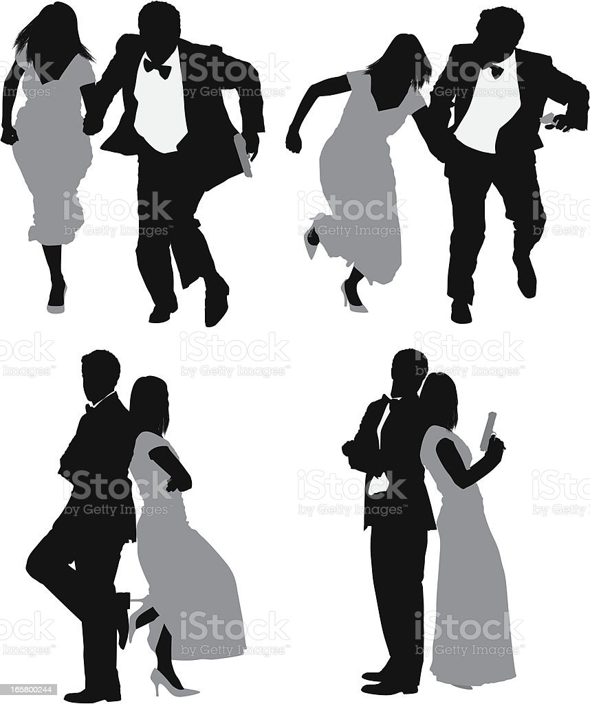 Multiple images of a couple in different poses vector art illustration