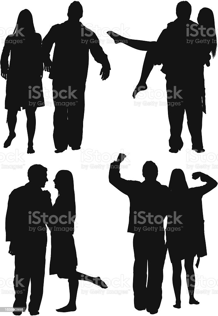 Multiple images of a couple in different poses royalty-free stock vector art