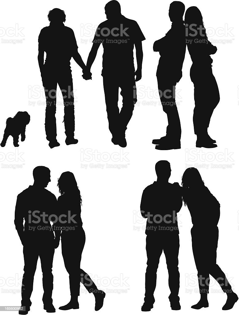 Multiple images of a couple in love vector art illustration
