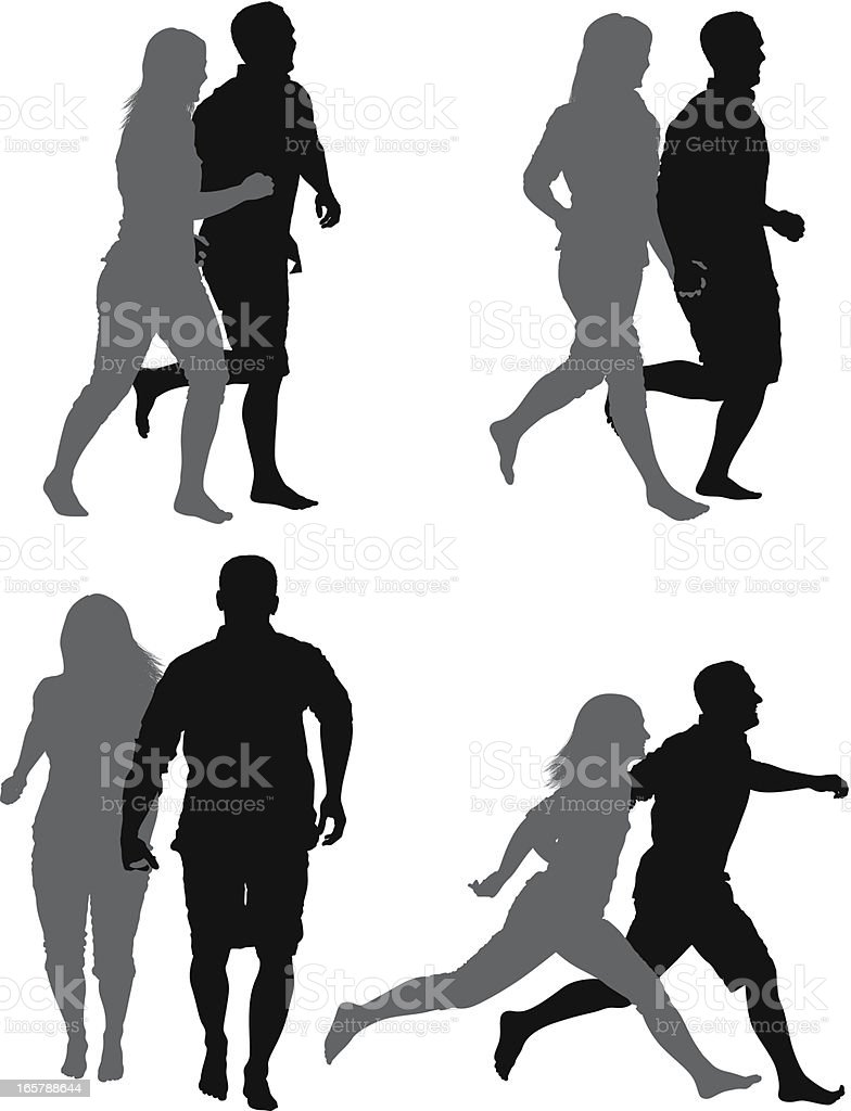Multiple images of a couple jogging vector art illustration