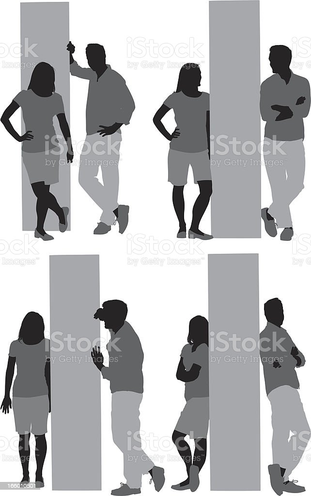 Multiple images of a couple posing vector art illustration